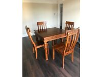 Hand-carved Indian Rosewood Dining Table & X4 Chairs - Dining Set