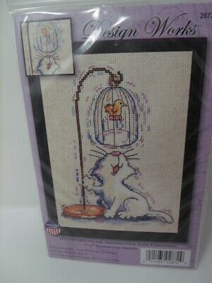 """Design Works BIRDCAGE KITTY Counted Cross Stitch Kit 5"""" x 7"""""""