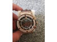 Hublot brown croc leather diamonds headed watch