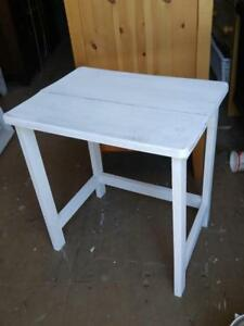 Oakville White Side Table or Stool Seat Solid Wood Rustic Rough Shabby Chic Farmhouse Cottage Country Plain Minimalist