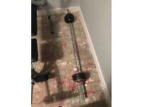 Weight bench and barbell