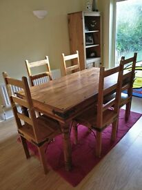 Solid Mango Wood Dining Table + 6 Chairs