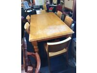 Pine wood Dining table and chairs