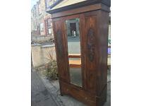 Splendid Antique Victorian Oak Carved Bevelled Edge Mirror Door Wardrobe with Large Drawer