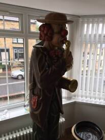 Antique 6'7 hand carved wooden clown