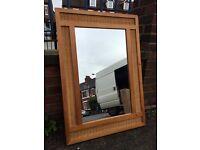 Large Wicker Mirror - Large Rattan Mirror - Large Pine Mirror - Must Go