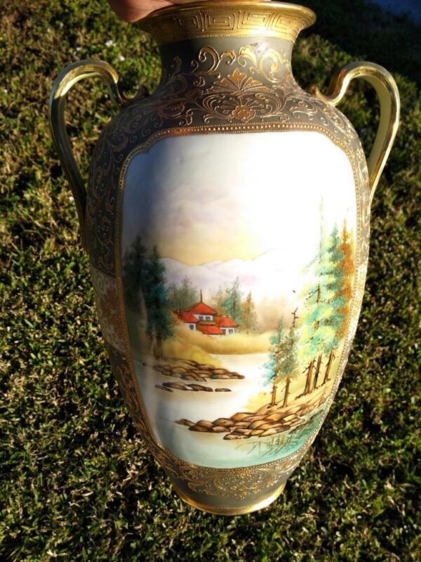 Antique Old Japanese Urn Vase Hand Painted Porcelain Japan Landscape Moriage Art