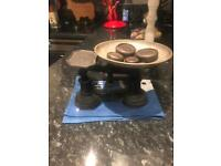Vintage cast iron weighing scales & 5 weights