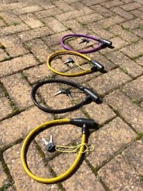 Bike Lock Cable with Keys x4