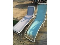 Two Patio / Garden Recliner, Lounger, Foldable Deck Chairs