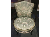 Pretty Mahogany Framed Vintage Bedroom/Tub Easy Armchair on Queen Anne Legs