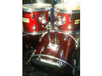 "Full size, Rock / Metal drum kit in wine red sparkle Big 24"" Bass Weatherking pinstripe skins"