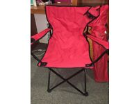 Red fold out fishing/beach chairs with cup holder