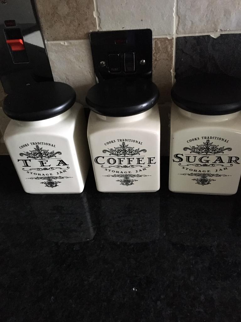 3 ceramic white black kitchen canisters jars coffee tea 3 ceramic white black kitchen canisters jars coffee tea sugar