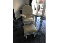 White wooden rocking chair and stool
