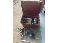 2 Sundridge sea fishing rods, reels and box of tackle, lines and weights