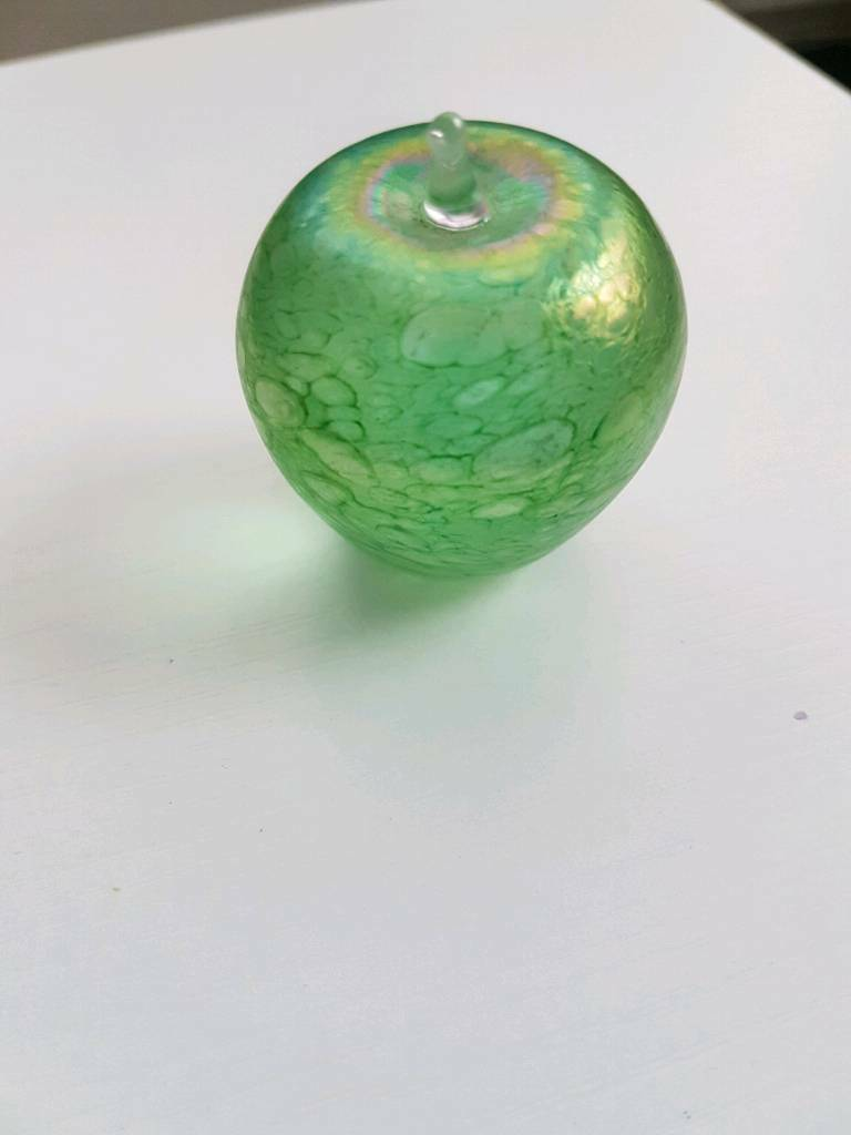 Rare vintage green glass apple paperweight