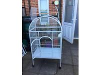 Large white dome top parrot bird cage