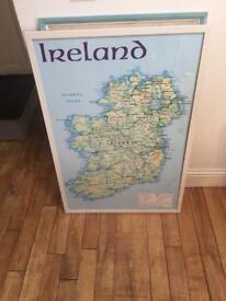 Large framed map of Ireland