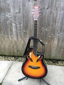 Ovation style electro acoustic guitar with stand & strap