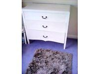Chest of Drawers White with 3 Deep Drawers