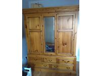 Large pine wardrobe five drawers mirror