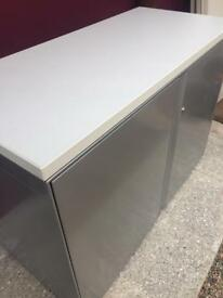 Desk high executive white storage cabinet
