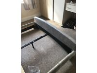Silver apolhostered king size bed frame with king size mattress only 6 months old hardly used