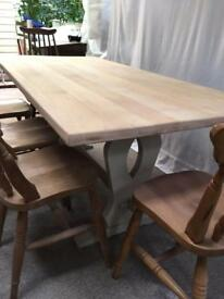 1.8m beech topped refectory farmhouse table; Newly refurbed. Chic not shabby.