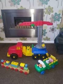 Toys crane lorry wooden train little tykes farm lorry