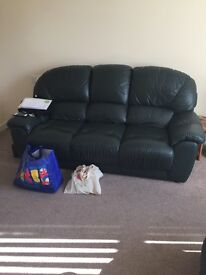 Bottle Green Leather Couch, Seat and Footstool