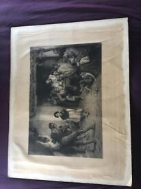 Picture old engraving print