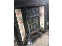 Substantial Floral Tiled Cast Iron Fireplace Insert