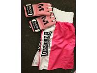 Boxing shorts and gloves