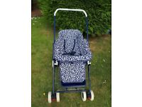 Silvercross 3 in 1, navy and white pram with raincover