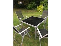 Garden furniture set glass top table and 4 chairs