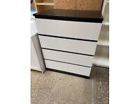 MALM Chest of 4 drawers, black-brown/white 80x100 cm IKEA Croydon #bargaincorner