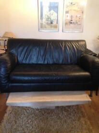 Ikea black leather 2 seater