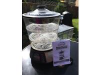 Digital 3 tier food steamer and rice cooker