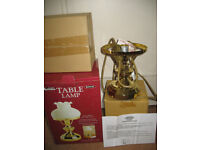 New table lamp 60 W, oil lamp style, white milk glass shade, brass effect, bayonet bulb