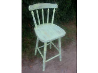 Vintage shabby chic pine bar stool/chair, yellow chalk paint, waxed.