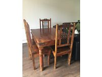 Dining Table with Chairs ( of Rosewood with antique look)