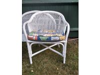 White wicker single headboard and chair with cushion