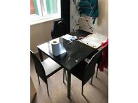 Hygena Lida Glass Dining Table And 4 Chairs