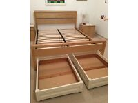 King Size bed frame plus drawers