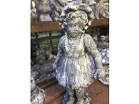 Large stone Victorian girl garden ornament