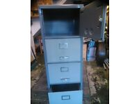 """4 """"drawer"""" Steel Filing Cabinet. Actually 3 drawers with useful cupboard at the top.With Keys"""