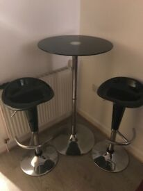 Black Glass Top High Table & 2 Bar Stools