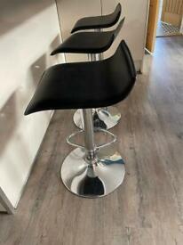 4 x black faux leather bar stools