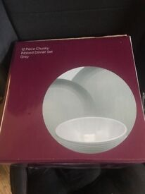 12 Piece Dinner Set - Ribbed Grey NEW